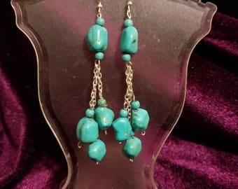 Sterling Silver Turquoise Nugget Earrings
