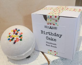 Birthday Cake Bath Bombs - Sweet and Buttery Vanilla Cake Scent - Set of 4