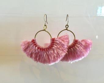 Baby pink - fan earrings