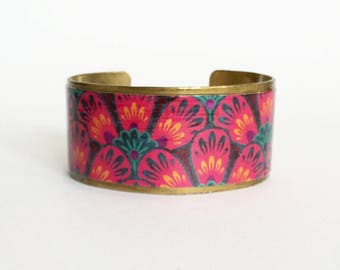 """Bracelet ethnic """"flowers of evil"""" - wide - protected paper on brass"""