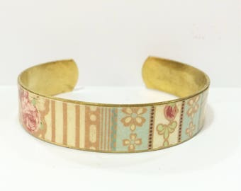 """Bracelet ethnic """"Tea Time"""" - wide-protected paper - brass"""