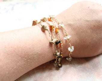 Vintage Wire Wrapped Semi Precious Stone Gold Fill Bracelet // Choose Your Stone // Carnelian // Tiger's Eye // Quartz