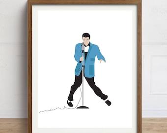 Elvis Presley Art Print, Blue Jacket, Elvis Portrait Art, Elvis Illustration, Elvis Poster, Elvis Art, Elvis Minimalist Portrait