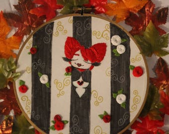 Queen Of Hearts Embroidered Mixed Media