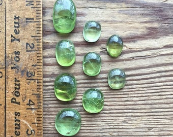 Natural peridot mix shapes and sizes cabochon parcel 9 pieces 23.90ct
