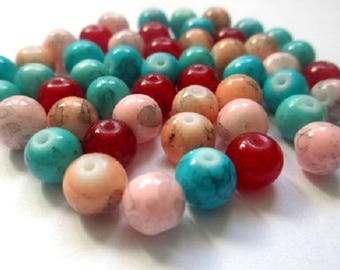50 mix color 8mm speckled beads