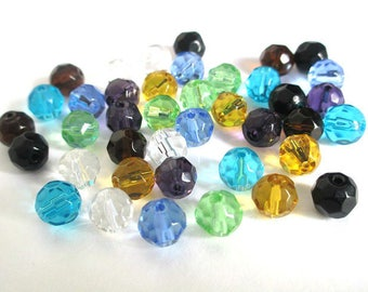 40 faceted glass beads color mix of 8mm