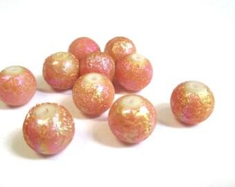 10 orange shiny beads, pink 10mm (O-24)