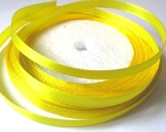 23 m yellow 6mm satin ribbon in reel