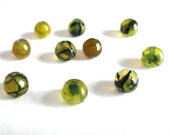 10 spider agate beads has 6mm faceted dragon vein
