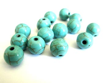 10 turquoise synthetic howlite 8mm beads