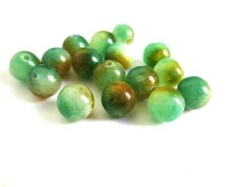 10 orange and green 6mm natural jade beads