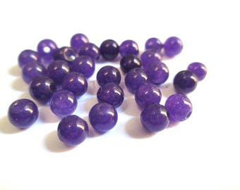 20 beads natural purple jade marbled 4mm (G-15)