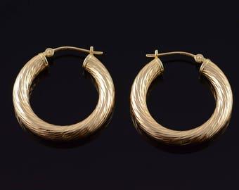 14k Hollow Hoop Tube Twist Earrings Gold