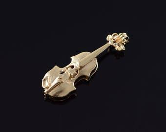 14k 3D Cello Violin Musical Instrument Charm/Pendant Gold