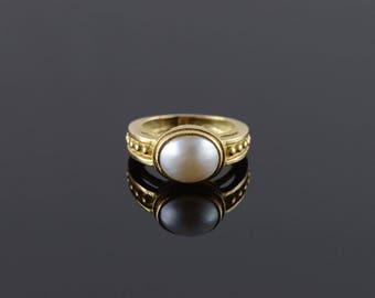 14k 10x8mm Pearl Dotted Band Ring Gold