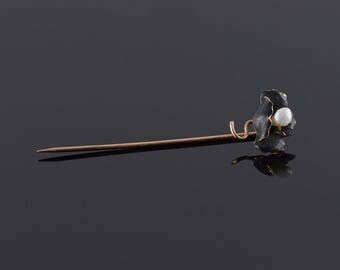 10k Black Enamel Pearl Flower Stick Pin Gold