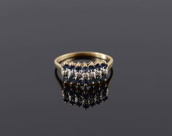 0.77 Ctw Sapphire Diamond Tiered Cluster Band Ring Size 8.75 Gold