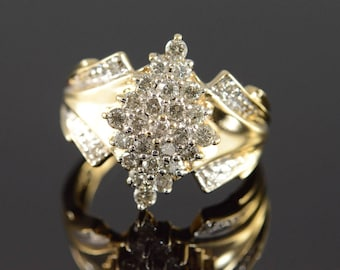 10k 0.58 Ctw Diamond Cluster Ring Gold
