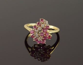 14k 0.91 CTW Ruby Diamond Cluster Ring Gold