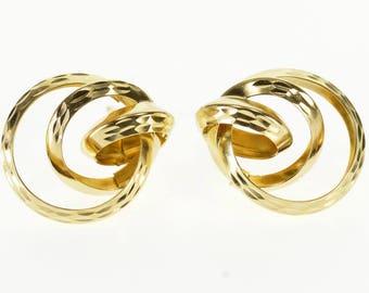 14k Interlocking Textured Ring Circle Post Back Earrings Gold