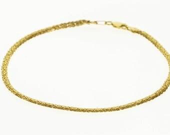"14k Pressed Byzantine Link Chain Anklet Bracelet Gold 9.75"""