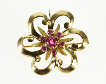 10k Retro Ruby* Floral Cluster Pendant/Pin Gold