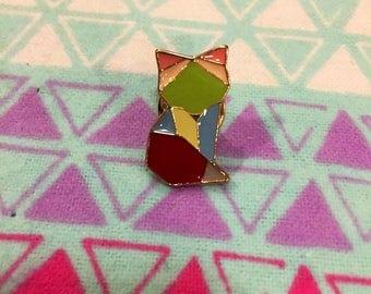 Origami Cat Kitten Lapel Pin