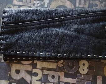 Black Hand Sewn Long Wallet