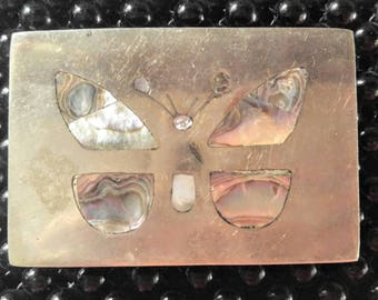 DISCOUNT ITEM-Abalone Shell Vintage Butterfly Belt Buckle-Silver/Gold-Mexico-All Orders Only 99c Shipping!!