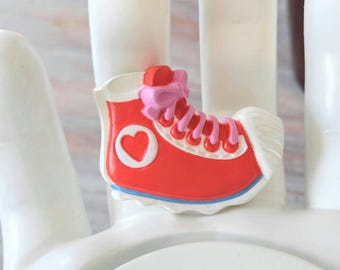 FUN SNEAKER Brooch-Tennis Shoe-Signed Hallmark 1985 Vintage-Red, Pink, Blue, Heart-Laces, Keds, Converse-All Orders Only 99c Shipping!!