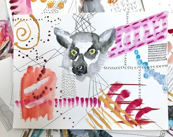 Fancy Watercolor Animal - Lemur