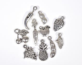Food Charm Collection - 10 Nutrition Charms - Cooks Charms - Fruit and  Vegetable Charms -