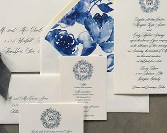 Sample Classic Monogram with Peony Wreath wedding invitation suite