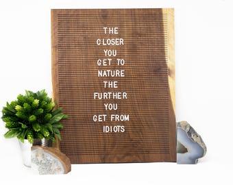Wooden Letter Board 16x20- Walnut -  Letterboard, Message Board, Felt Board, Modern Farmhouse, Modern Cabin, Natural, Organic, Handcrafted