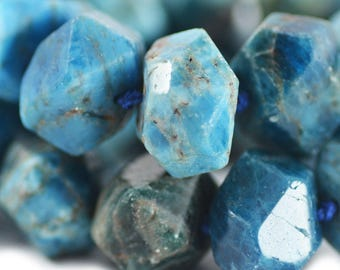 Apatite Faceted Rustic Nugget Gemstone Turquoise Ocean Sea Blue Brown Stone Beads 15x20mm