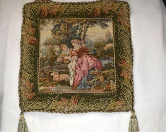 European tapestry wall hanging picture in gold and green