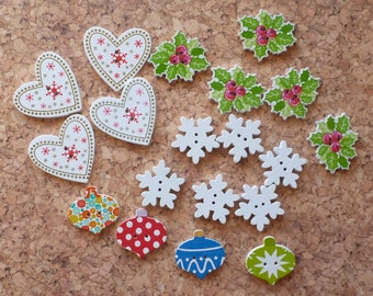 Wooden Christmas Button Selection 3