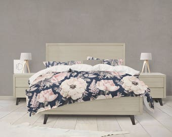 Navy and Pink watercolor floral duvet cover