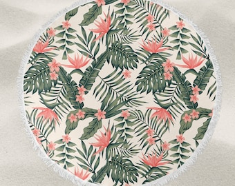 Tropical leaves and flowers over-sized round beach towel
