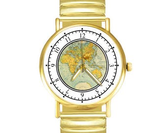 World Map travel watch gold - wanderlst.travelling,weltkarte,uhr,explore,jewellery,vintage,, Welt Karte