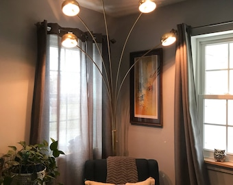 Vintage Brass Arc Floor Lamp w/5 Lights