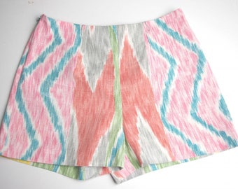 Ethnic printed Garry short colored silk and cotton