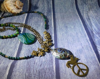 Peace and Love Layered Necklace, Multi-strand Necklace, 3 in 1 Necklace, Versatile, Convertible, Hippy, BOHO, Abalone, Bronze