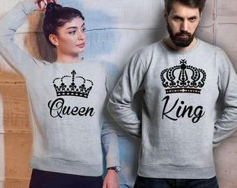 His and Her King and Queen matching sport grey sweatshirts set