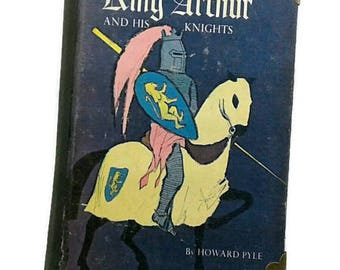 King Arthur Writing Journal-100 Lined Printed Pages-Diary/Notebook-Upcycled Book-gift for her-knight journal-blue-classic book, gift for him
