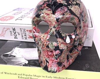 "Floral Decoupage Skull Ornament ""Nell"". Perfect Alternative Gift."