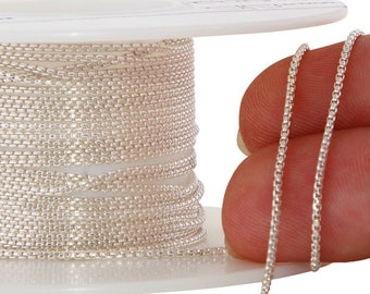 1 FT 1 mm Sterling Silver Round Box Chain (SS942)