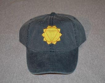 Solar Plexus Chakra -- on a Navy Blue Color Adams Brand Twill Unstructured Baseball hat --- FREE Shipping --- Meta Life - Yoga