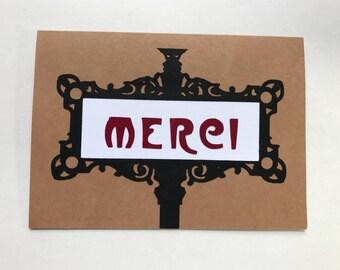 Merci Paris Metro Greeting Card